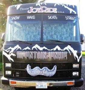 team JoyRide usa, rv, winnebago, mustache, car stache